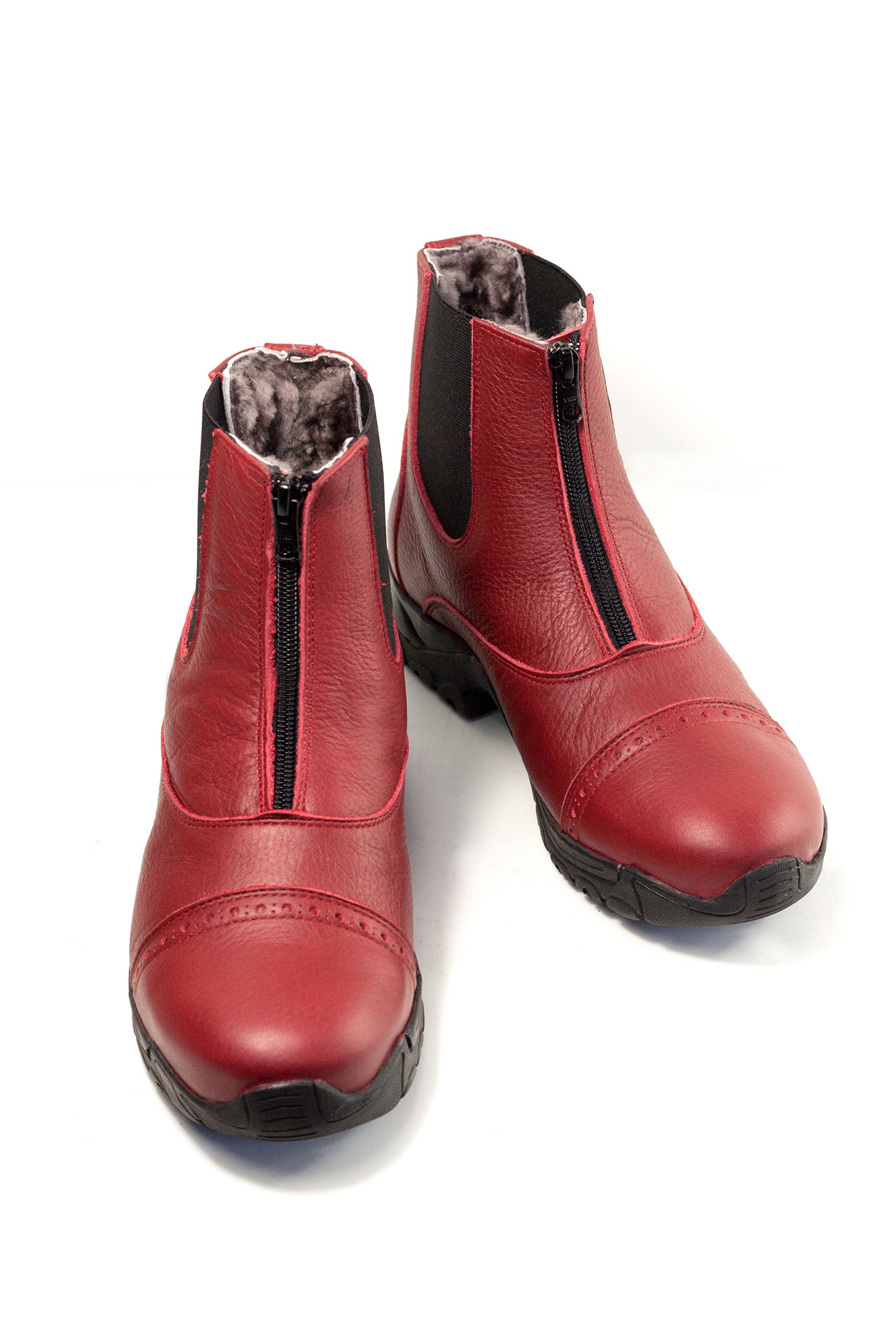 Hot Bob Reitstiefelette Echtfell red rot fur lined
